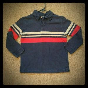 Cherokee Polo Long Sleeve Navy w/ Red White Stripe